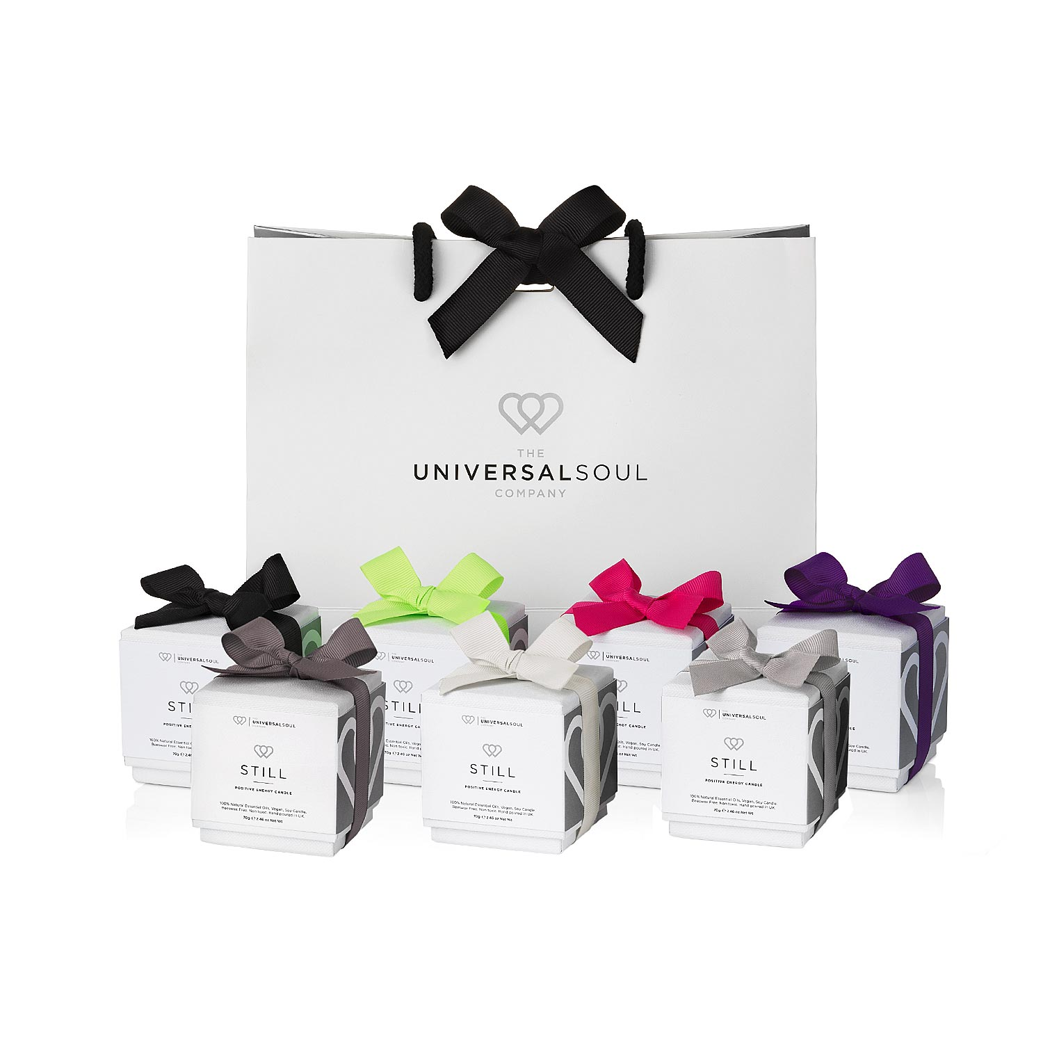 The Universal Soul Company - Gift Wrapping Service - Gift bag and candles with coloured ribbons