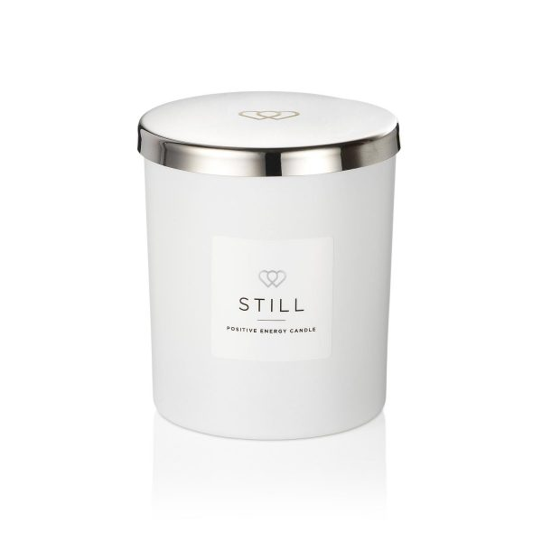 Positive Energy Candle STILL with Chrome Silver effect luxury engraved silver tone 1 wick candle lid 30cl - A perfect positive Energy gift for her or him