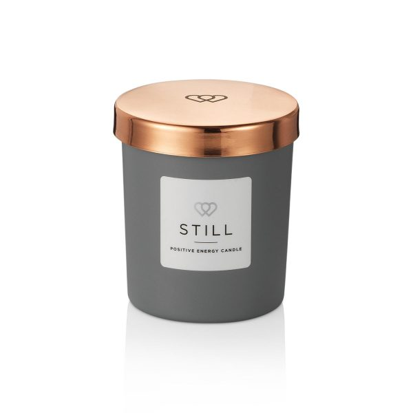 Positive Energy Mini Candle STILL in Matt Grey 9cl with a Rose Gold Mini Candle lids - The Universal Soul Company