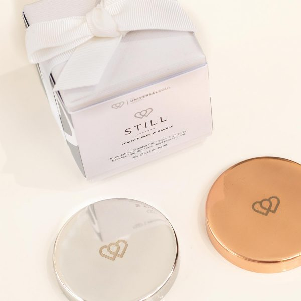Luxury engraved silver tone and rose gold 9cl candle lids with candle box for a Positive Energy Candle STILL supplied by The Universal Soul Company