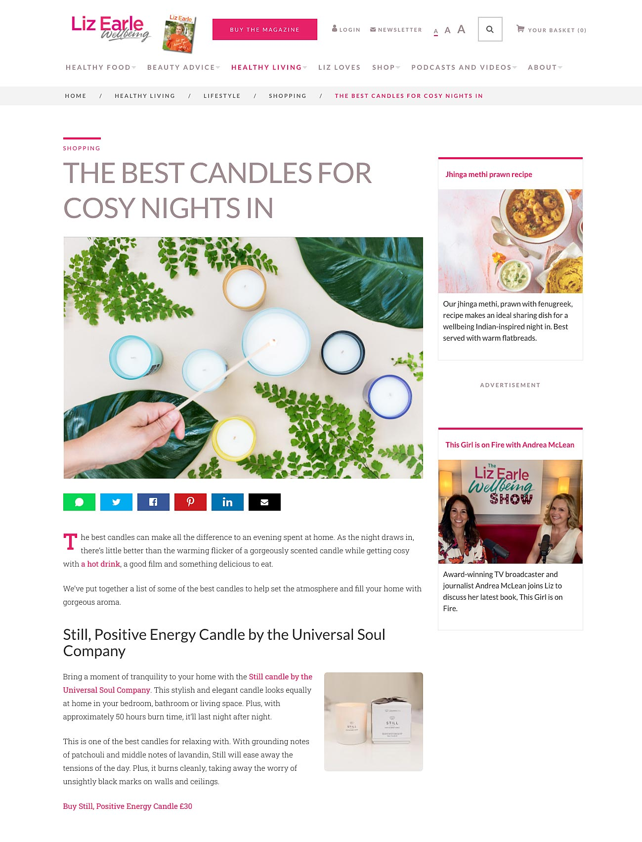 STILL POSITIVE ENERGY CANDLE IS VOTED THE BEST CANDLE FOR A COSY NIGHT IN BY LIZ EARLE WELLBEING ARTICLE